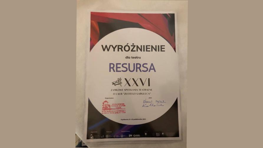 Teatr Resursa wyróżniony w Szydłowcu!